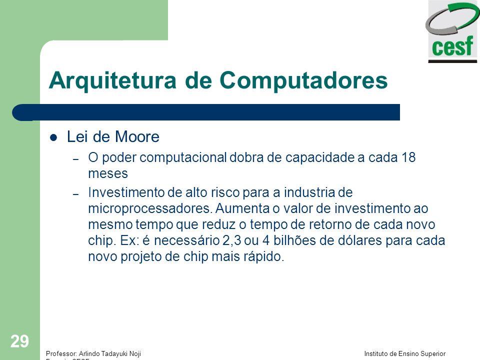 Professor: Arlindo Tadayuki Noji Instituto de Ensino Superior Fucapi - CESF 29 Arquitetura de Computadores Lei de Moore – O poder computacional dobra de capacidade a cada 18 meses – Investimento de alto risco para a industria de microprocessadores.