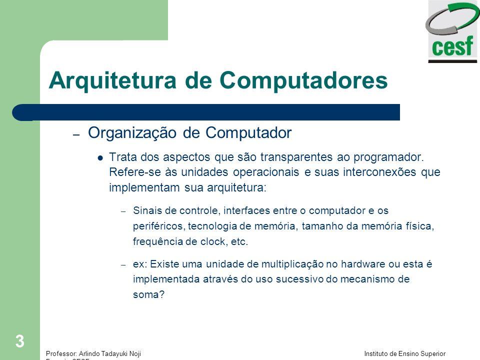 Professor: Arlindo Tadayuki Noji Instituto de Ensino Superior Fucapi - CESF 3 Arquitetura de Computadores – Organização de Computador Trata dos aspectos que são transparentes ao programador.