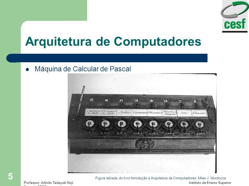 Professor: Arlindo Tadayuki Noji Instituto de Ensino Superior Fucapi - CESF 5 Arquitetura de Computadores Máquina de Calcular de Pascal Figura retirada do livro Introdução a Arquitetura de Computadores, Miles J.