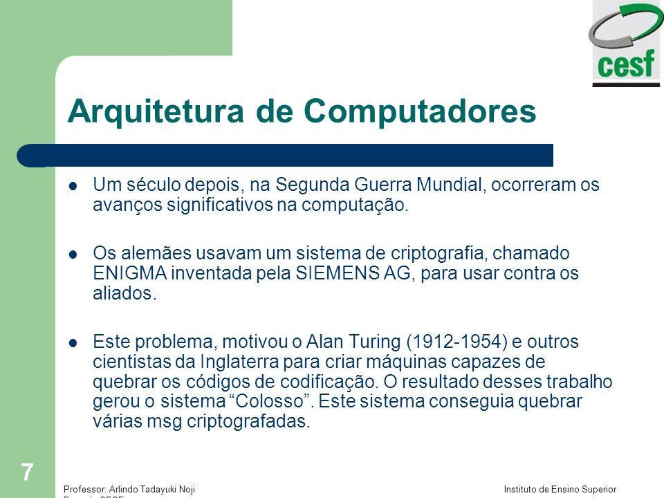 Professor: Arlindo Tadayuki Noji Instituto de Ensino Superior Fucapi - CESF 7 Arquitetura de Computadores Um século depois, na Segunda Guerra Mundial, ocorreram os avanços significativos na computação.