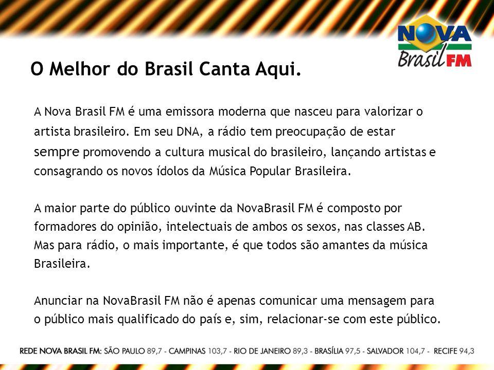 O Melhor do Brasil Canta Aqui. A Nova Brasil FM é uma emissora moderna que nasceu para valorizar o artista brasileiro. Em seu DNA, a rádio tem preocup