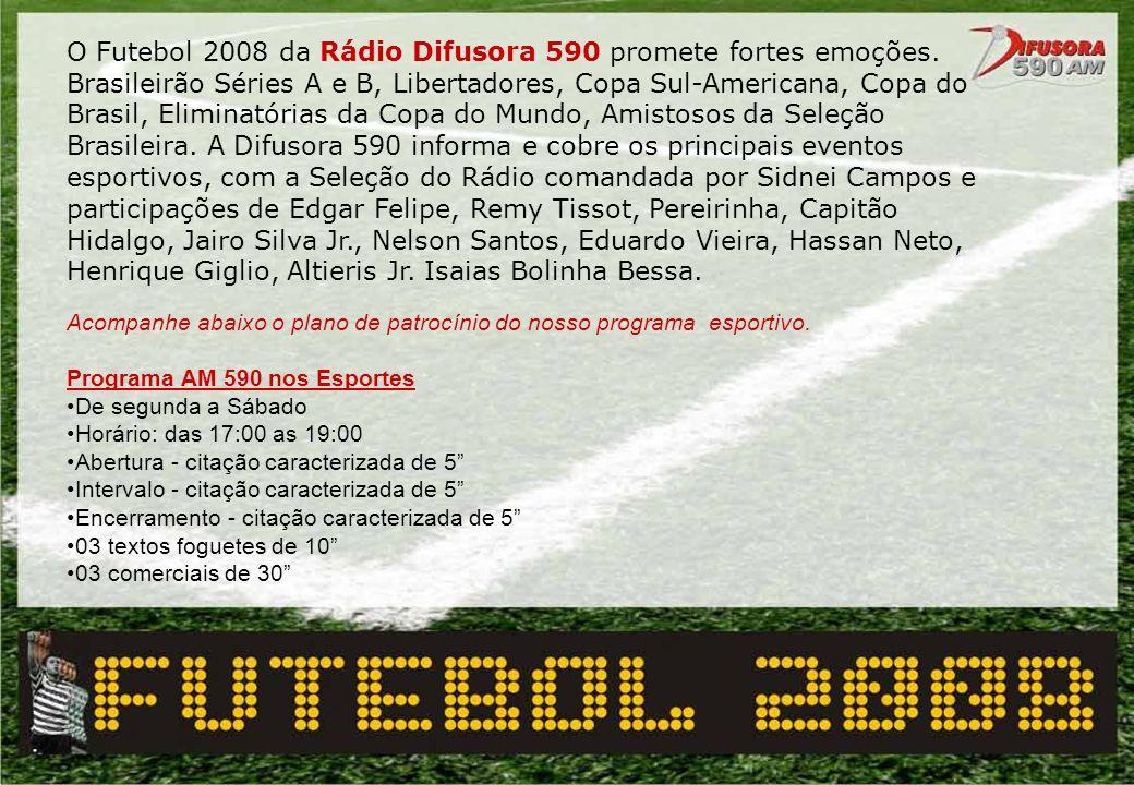 Acompanhe abaixo o plano de patrocínio do nosso programa esportivo. Programa AM 590 nos Esportes De segunda a Sábado Horário: das 17:00 as 19:00 Abert