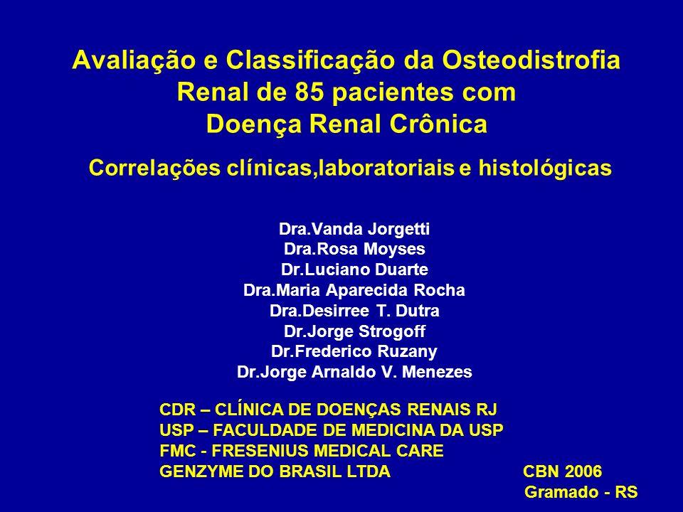 Osteodistrofia Renal Alto remanejamento ósseo : hiperparatireoidismo secundário ( osteíte fibrosa ) Baixo remanejamento ósseo : doença óssea adinamica osteomalacia Doença óssea mista (osteíte fibrosa e osteomalacia ) Osteoporose Intoxicação por metal : alumínio e ferro