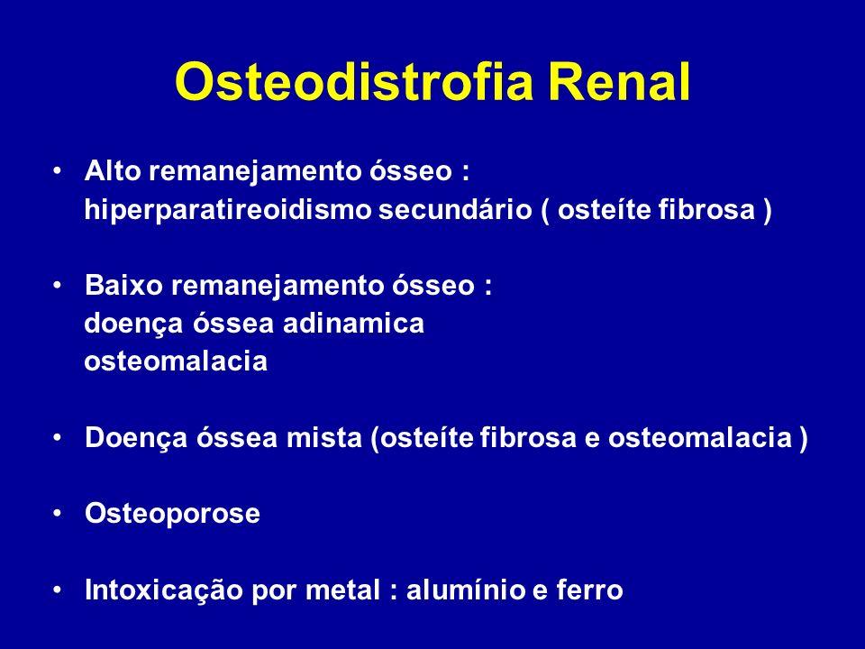 Osteodistrofia Renal Alto remanejamento ósseo : hiperparatireoidismo secundário ( osteíte fibrosa ) Baixo remanejamento ósseo : doença óssea adinamica