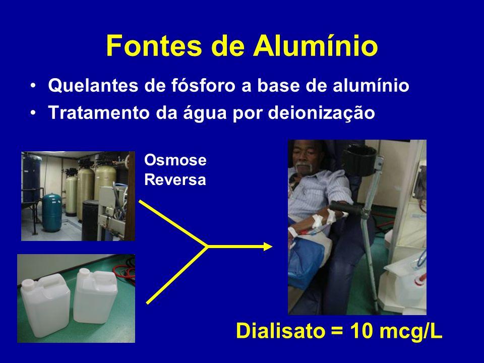 Fontes de Alumínio Quelantes de fósforo a base de alumínio Tratamento da água por deionização Dialisato = 10 mcg/L Osmose Reversa