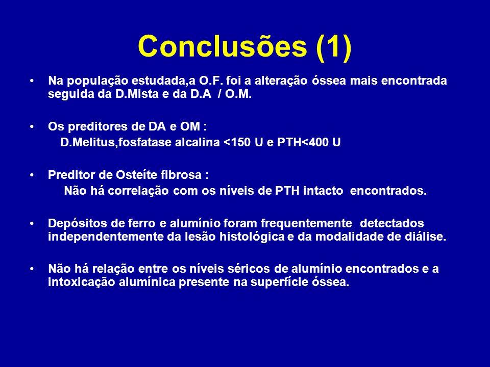 Conclusões (1) Na população estudada,a O.F. foi a alteração óssea mais encontrada seguida da D.Mista e da D.A / O.M. Os preditores de DA e OM : D.Meli