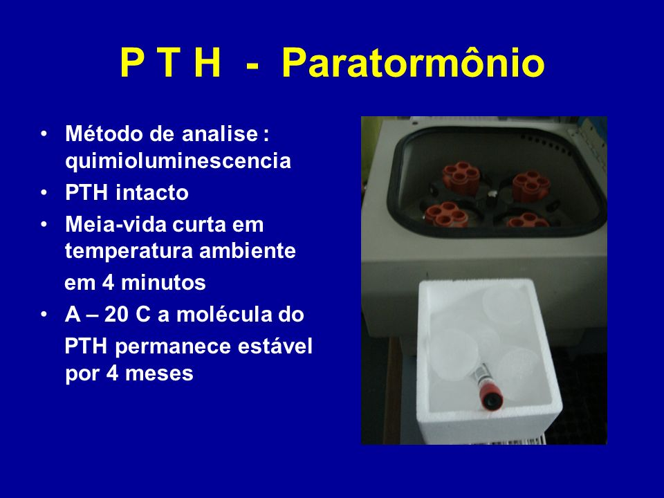 P T H - Paratormônio Método de analise : quimioluminescencia PTH intacto Meia-vida curta em temperatura ambiente em 4 minutos A – 20 C a molécula do P