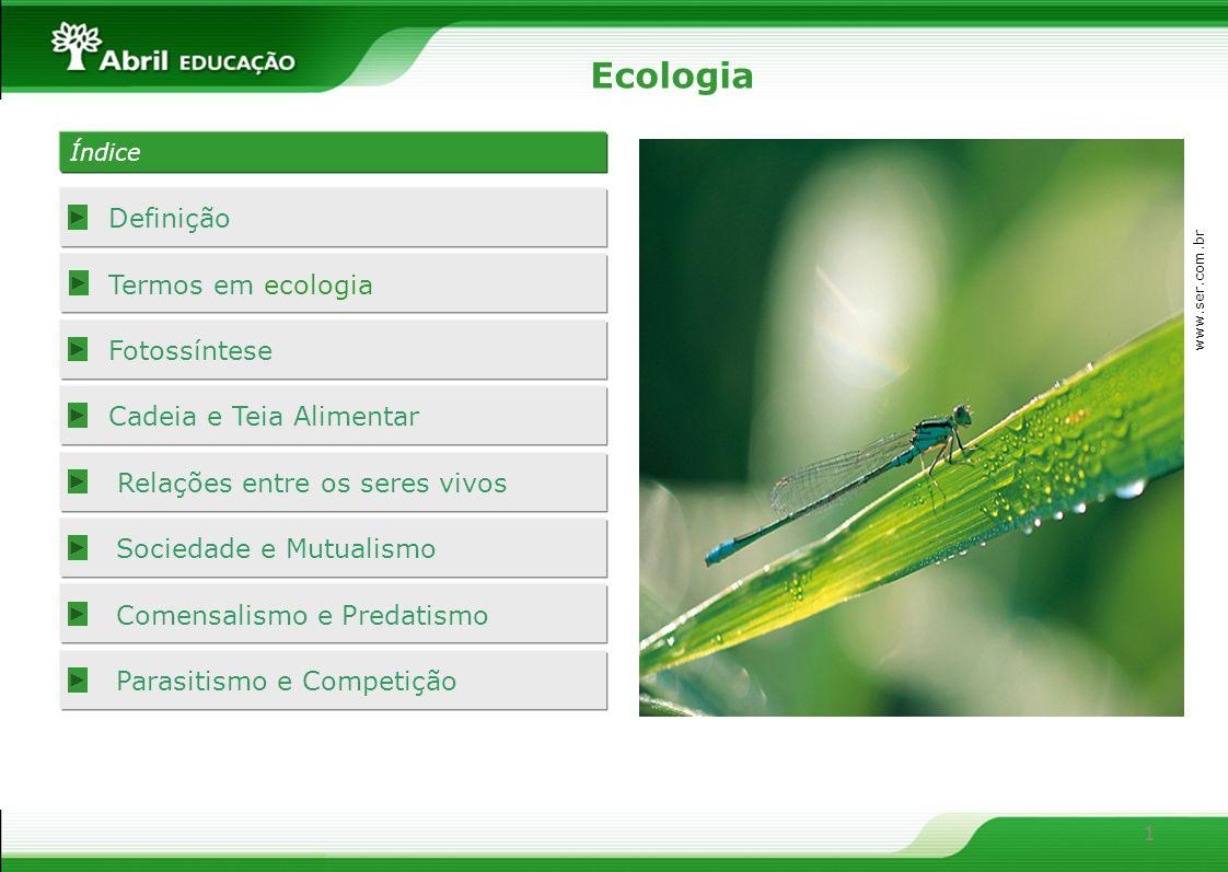 1 Definição Termos em ecologia Fotossíntese Cadeia e Teia Alimentar Relações entre os seres vivos Sociedade e Mutualismo Ecologia www.ser.com.br Comen