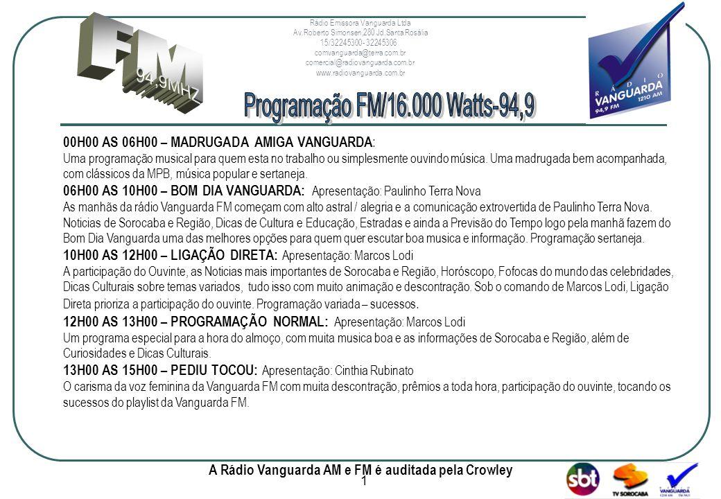 www.radiovanguarda.com.br 00H00 AS 06H00 – MADRUGADA AMIGA VANGUARDA : Uma programação musical para quem esta no trabalho ou simplesmente ouvindo música.