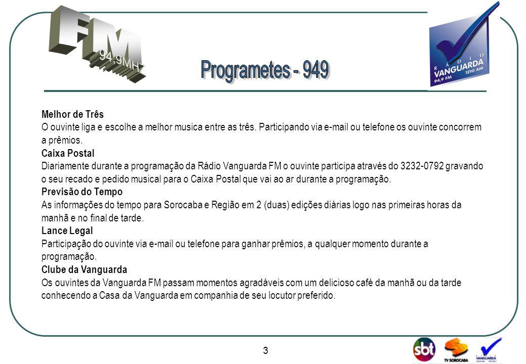 www.radiovanguarda.com.br Melhor de Três O ouvinte liga e escolhe a melhor musica entre as três.