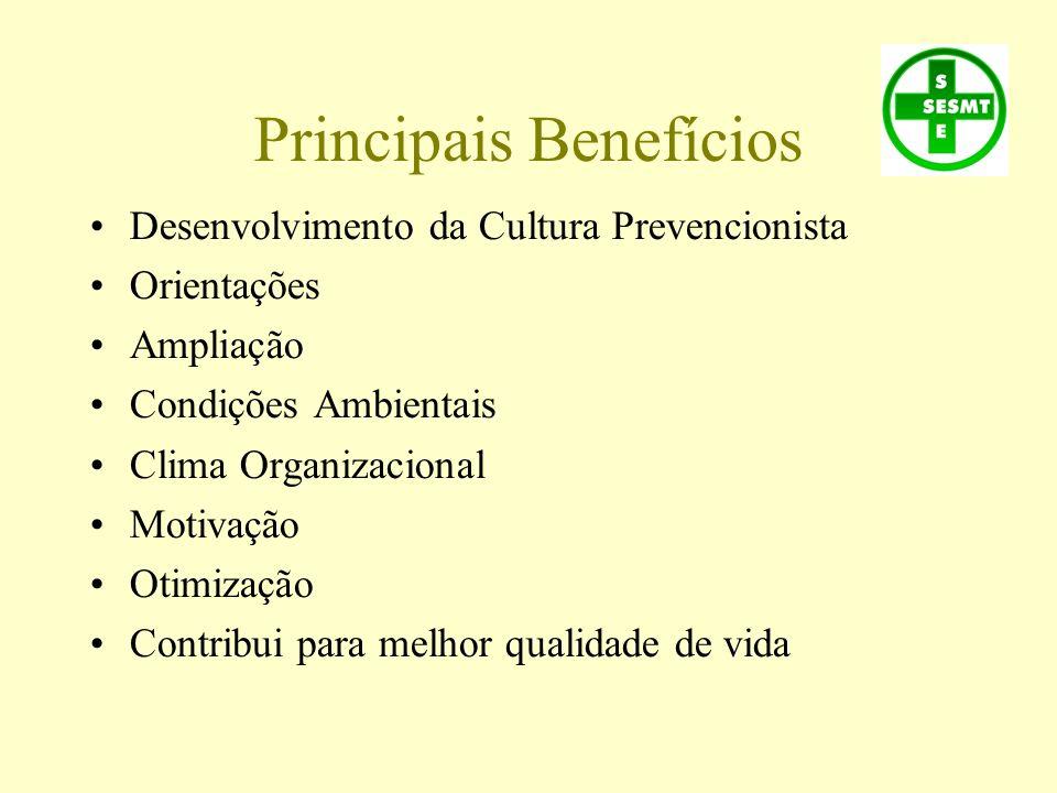 Principais Benefícios Desenvolvimento da Cultura Prevencionista Orientações Ampliação Condições Ambientais Clima Organizacional Motivação Otimização C