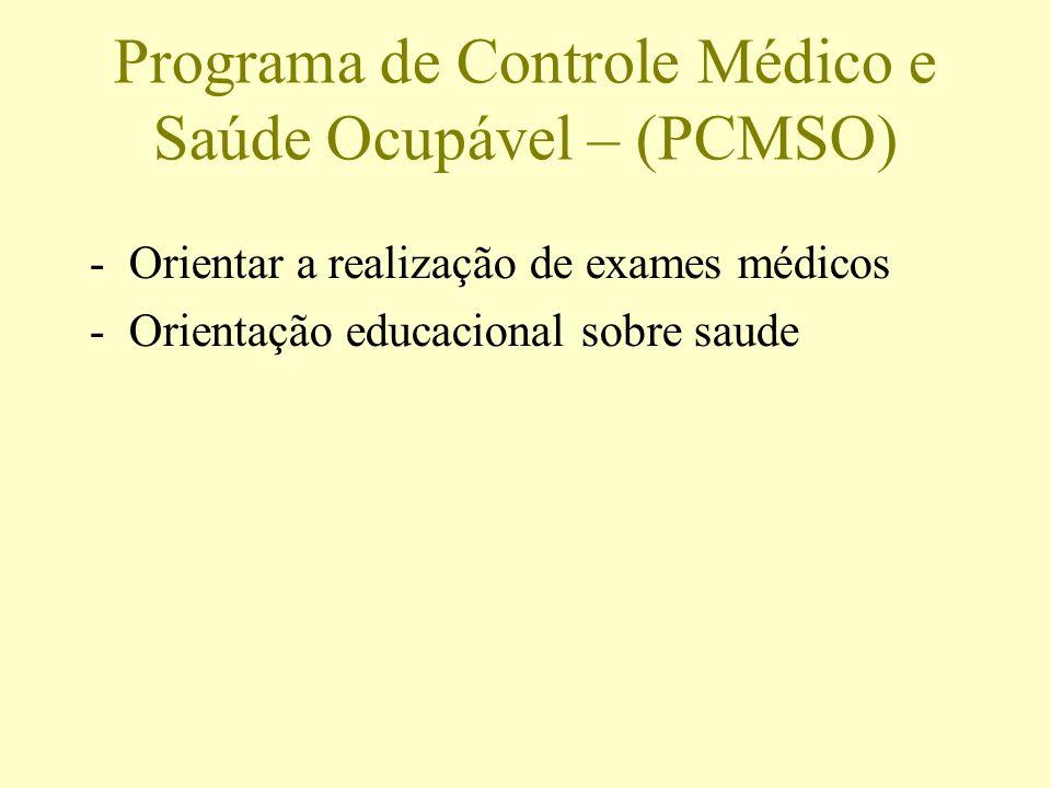 Programa de Controle Médico e Saúde Ocupável – (PCMSO) -Orientar a realização de exames médicos -Orientação educacional sobre saude