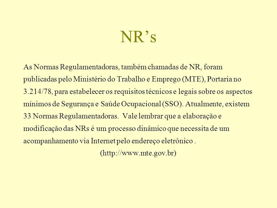 NRs As Normas Regulamentadoras, também chamadas de NR, foram publicadas pelo Ministério do Trabalho e Emprego (MTE), Portaria no 3.214/78, para estabe