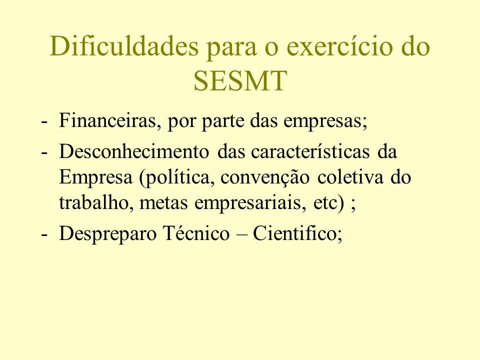 Dificuldades para o exercício do SESMT -Financeiras, por parte das empresas; -Desconhecimento das características da Empresa (política, convenção cole
