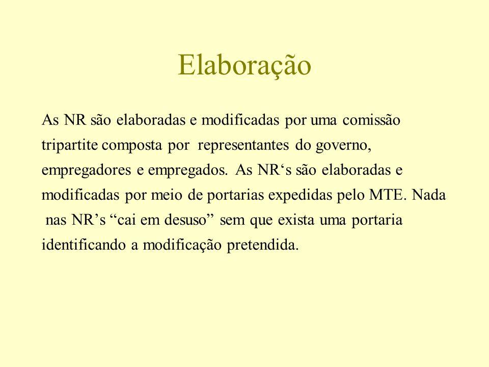 Elaboração As NR são elaboradas e modificadas por uma comissão tripartite composta por representantes do governo, empregadores e empregados. As NRs sã
