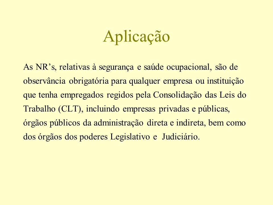 Aplicação As NRs, relativas à segurança e saúde ocupacional, são de observância obrigatória para qualquer empresa ou instituição que tenha empregados
