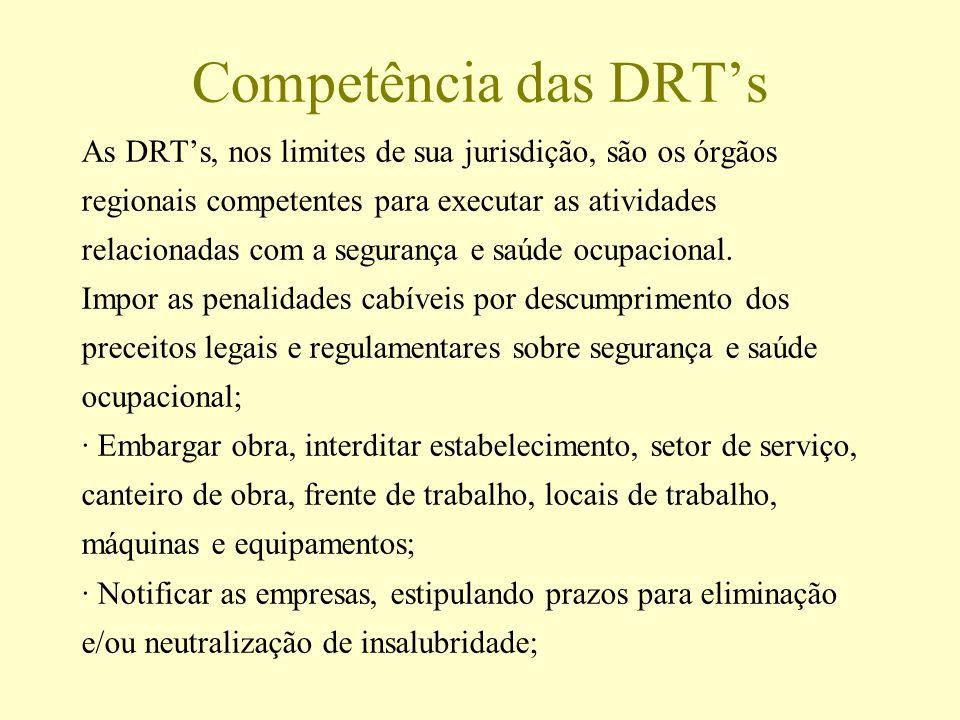 Competência das DRTs As DRTs, nos limites de sua jurisdição, são os órgãos regionais competentes para executar as atividades relacionadas com a segura