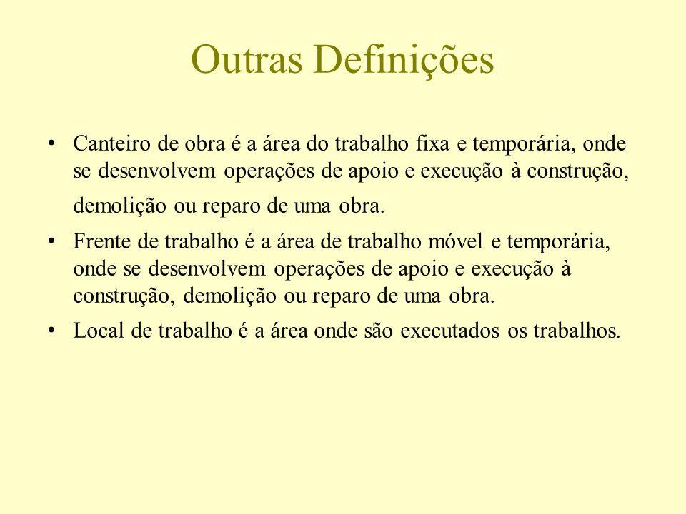 Outras Definições Canteiro de obra é a área do trabalho fixa e temporária, onde se desenvolvem operações de apoio e execução à construção, demolição o