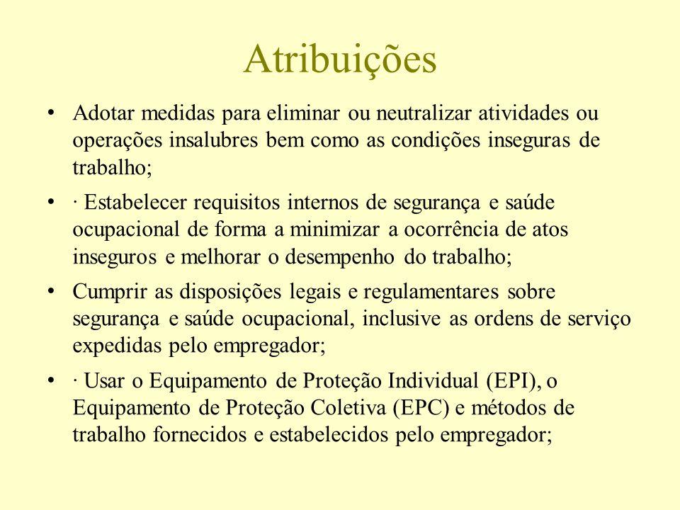 Atribuições Adotar medidas para eliminar ou neutralizar atividades ou operações insalubres bem como as condições inseguras de trabalho; · Estabelecer
