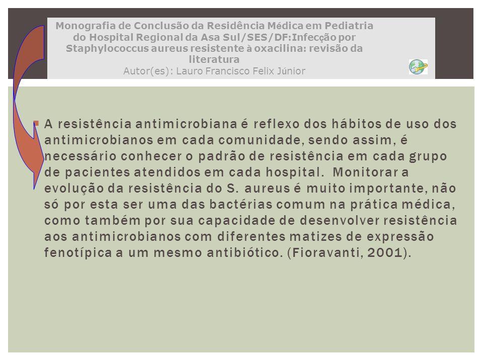 A resistência antimicrobiana é reflexo dos hábitos de uso dos antimicrobianos em cada comunidade, sendo assim, é necessário conhecer o padrão de resis