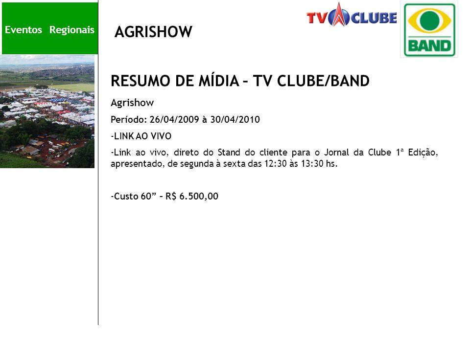 Eve AGRISHOW RESUMO DE MÍDIA – TV CLUBE/BAND Agrishow Período: 26/04/2009 à 30/04/2010 -LINK AO VIVO -Link ao vivo, direto do Stand do cliente para o