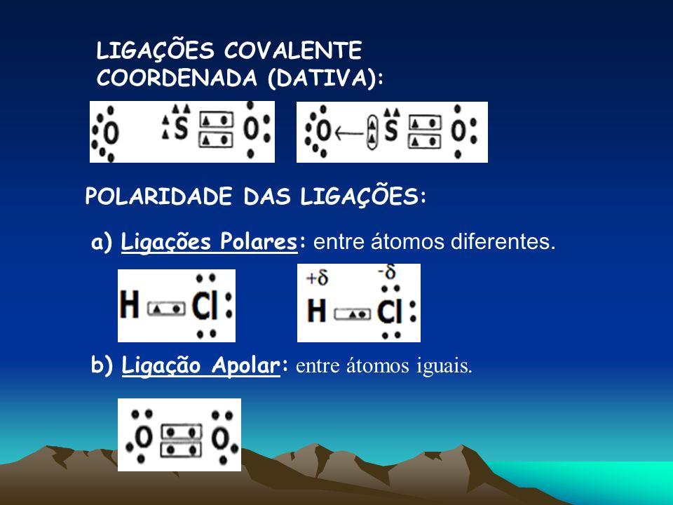 LIGAÇÕES COVALENTE COORDENADA (DATIVA): POLARIDADE DAS LIGAÇÕES: a) Ligações Polares: entre átomos diferentes. b) Ligação Apolar: entre átomos iguais.