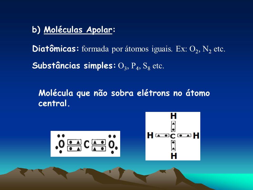 b) Moléculas Apolar: Diatômicas: formada por átomos iguais. Ex: O 2, N 2 etc. Substâncias simples: O 3, P 4, S 8 etc. Molécula que não sobra elétrons