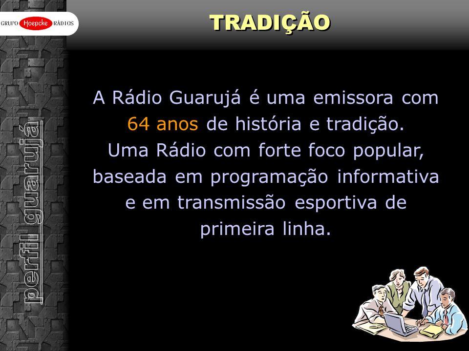 A Rádio Guarujá é uma emissora com 64 anos de história e tradição. Uma Rádio com forte foco popular, baseada em programação informativa e em transmiss