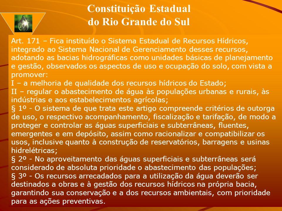 Prof. Sérgio Brião Jardim 11 Art. 171 – Fica instituído o Sistema Estadual de Recursos Hídricos, integrado ao Sistema Nacional de Gerenciamento desses