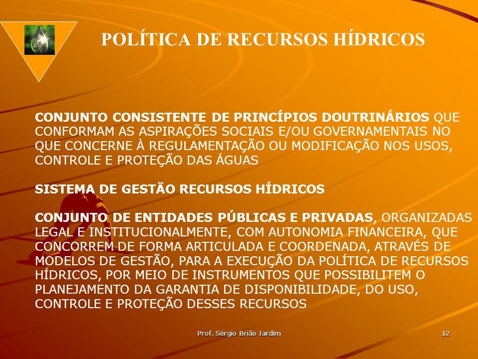 Prof. Sérgio Brião Jardim 12 CONJUNTO CONSISTENTE DE PRINCÍPIOS DOUTRINÁRIOS QUE CONFORMAM AS ASPIRAÇÕES SOCIAIS E/OU GOVERNAMENTAIS NO QUE CONCERNE À