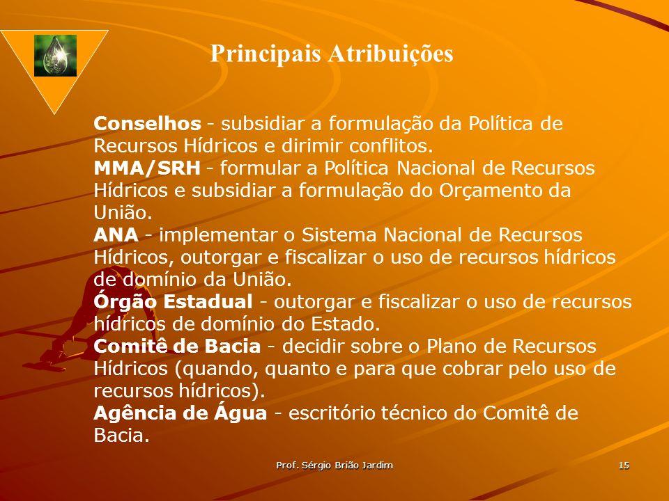Prof. Sérgio Brião Jardim 15 Conselhos - subsidiar a formulação da Política de Recursos Hídricos e dirimir conflitos. MMA/SRH - formular a Política Na