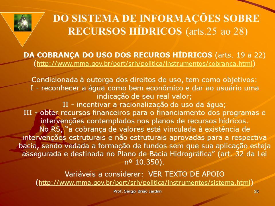 Prof. Sérgio Brião Jardim 25 DA COBRANÇA DO USO DOS RECUROS HÍDRICOS (arts. 19 a 22) ( http://www.mma.gov.br/port/srh/politica/instrumentos/cobranca.h