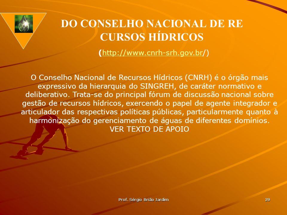 Prof. Sérgio Brião Jardim 29 O Conselho Nacional de Recursos Hídricos (CNRH) é o órgão mais expressivo da hierarquia do SINGREH, de caráter normativo