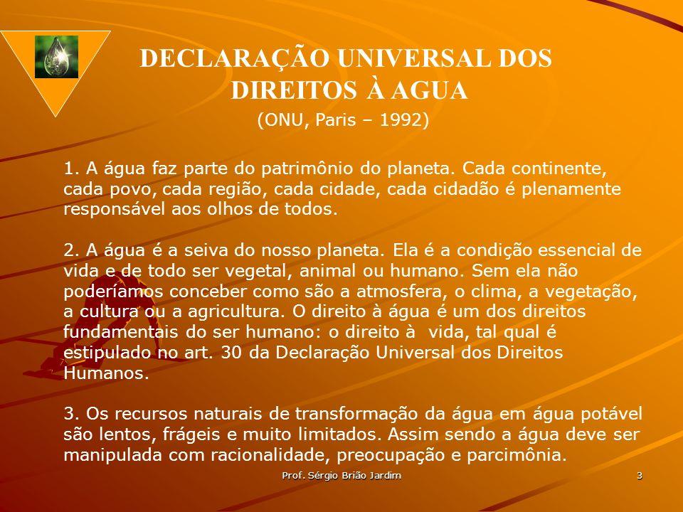 Prof. Sérgio Brião Jardim 3 1. A água faz parte do patrimônio do planeta. Cada continente, cada povo, cada região, cada cidade, cada cidadão é plename