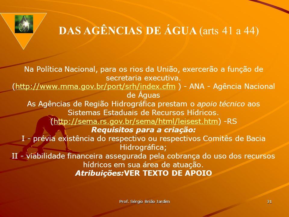 Prof. Sérgio Brião Jardim 31 Na Política Nacional, para os rios da União, exercerão a função de secretaria executiva. (http://www.mma.gov.br/port/srh/
