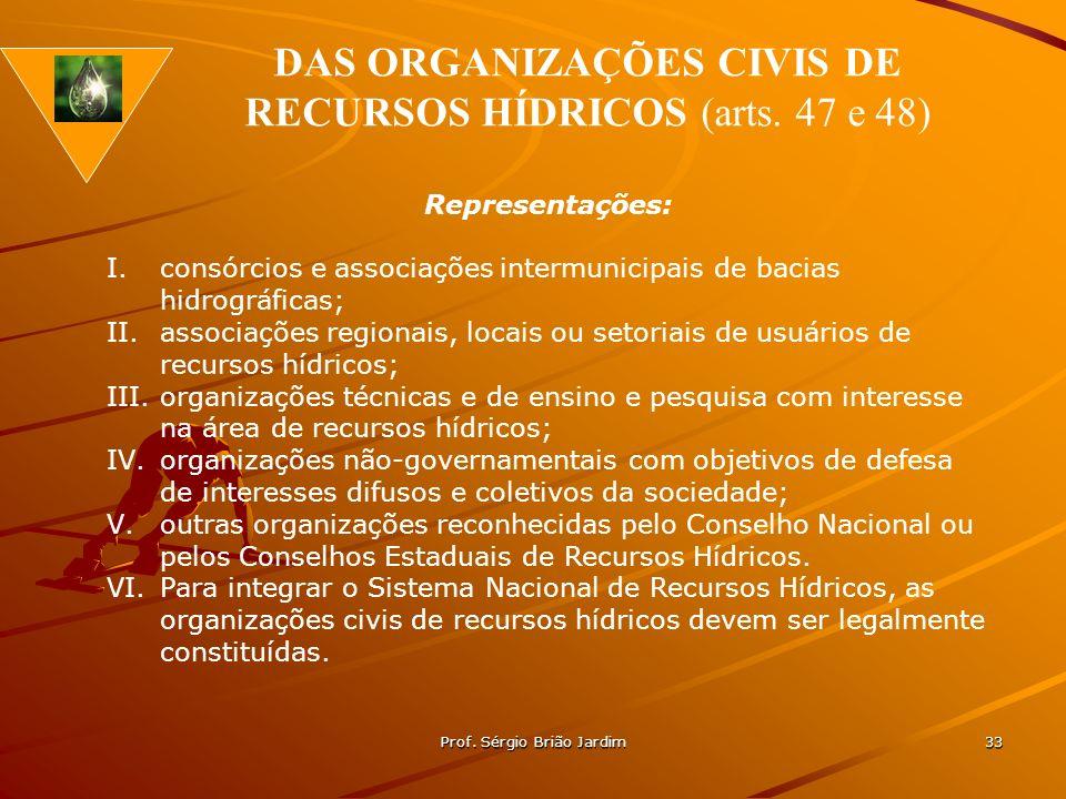 Prof. Sérgio Brião Jardim 33 Representações: I.consórcios e associações intermunicipais de bacias hidrográficas; II.associações regionais, locais ou s