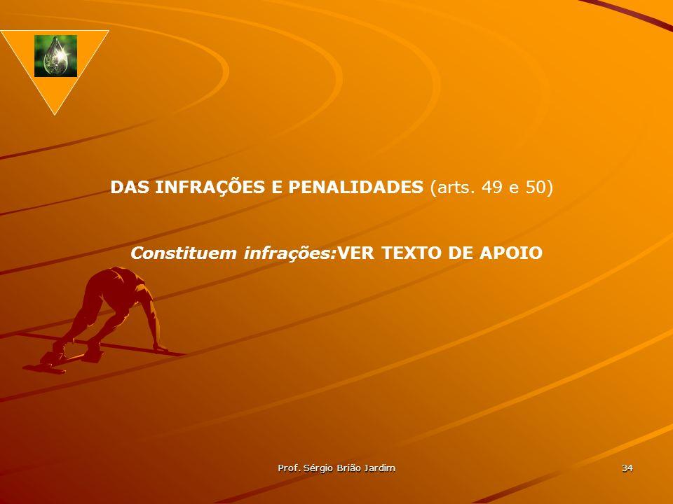 Prof. Sérgio Brião Jardim 34 DAS INFRAÇÕES E PENALIDADES (arts. 49 e 50) Constituem infrações:VER TEXTO DE APOIO