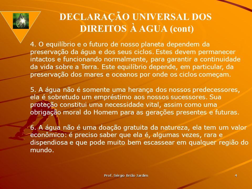 Prof. Sérgio Brião Jardim 4 4. O equilíbrio e o futuro de nosso planeta dependem da preservação da água e dos seus ciclos. Estes devem permanecer inta