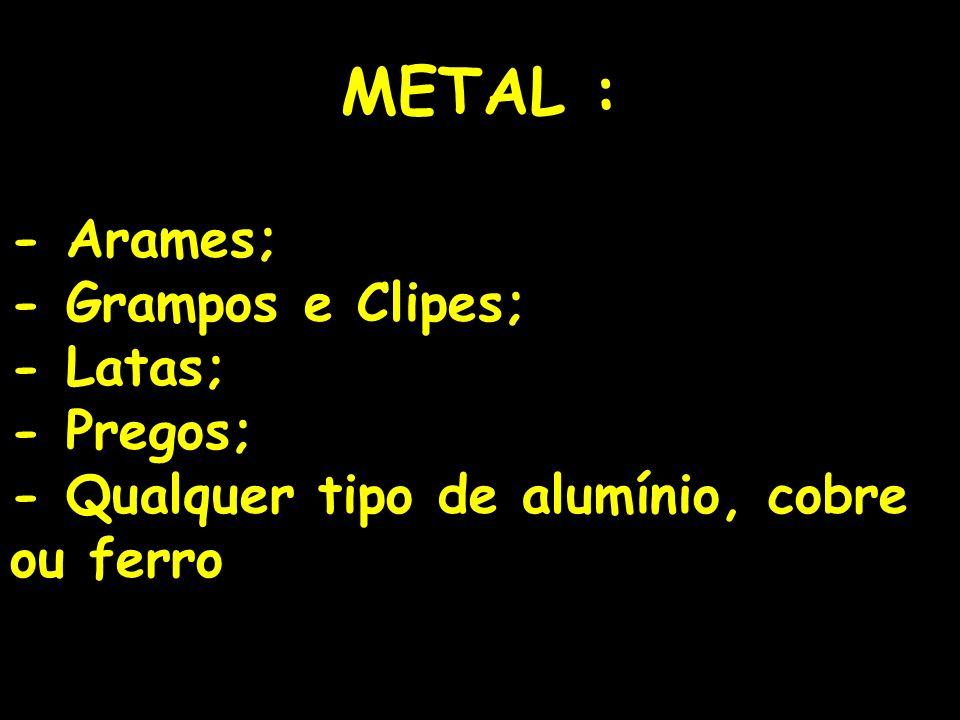 13 METAL : - Arames; - Grampos e Clipes; - Latas; - Pregos; - Qualquer tipo de alumínio, cobre ou ferro