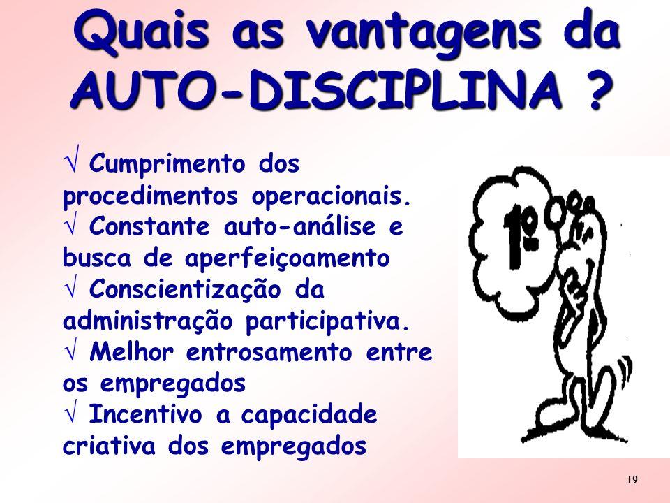19 Quais as vantagens da AUTO-DISCIPLINA ? Quais as vantagens da AUTO-DISCIPLINA ? Cumprimento dos procedimentos operacionais. Constante auto-análise