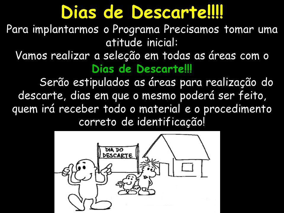 25 Dias de Descarte!!!! Para implantarmos o Programa Precisamos tomar uma atitude inicial: Vamos realizar a seleção em todas as áreas com o Dias de De