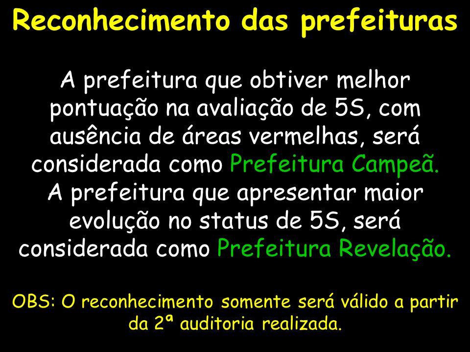 28 Reconhecimento das prefeituras A prefeitura que obtiver melhor pontuação na avaliação de 5S, com ausência de áreas vermelhas, será considerada como