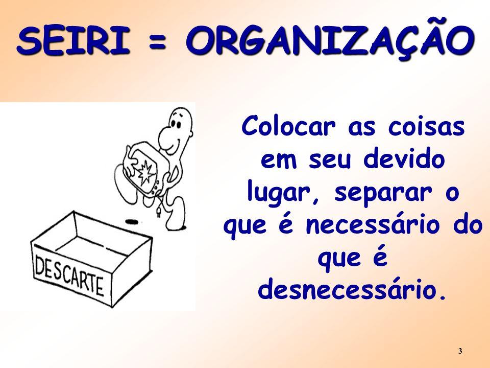 3 SEIRI = ORGANIZAÇÃO Colocar as coisas em seu devido lugar, separar o que é necessário do que é desnecessário.