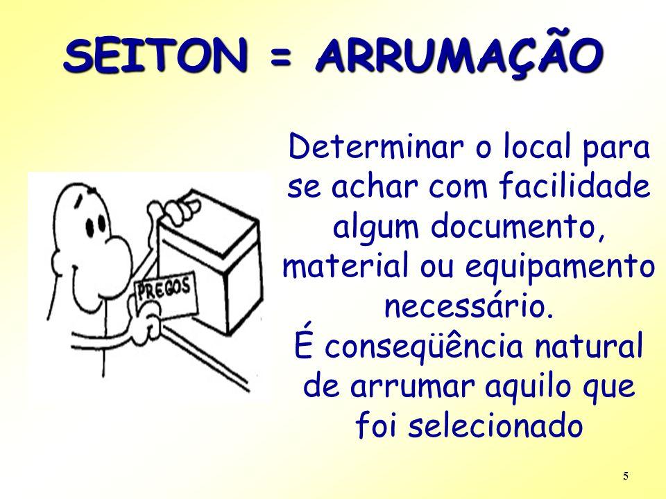 5 SEITON = ARRUMAÇÃO Determinar o local para se achar com facilidade algum documento, material ou equipamento necessário. É conseqüência natural de ar