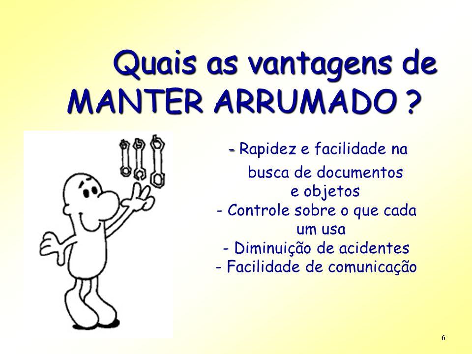 6 Quais as vantagens de MANTER ARRUMADO ? - Quais as vantagens de MANTER ARRUMADO ? - Rapidez e facilidade na busca de documentos e objetos - Controle