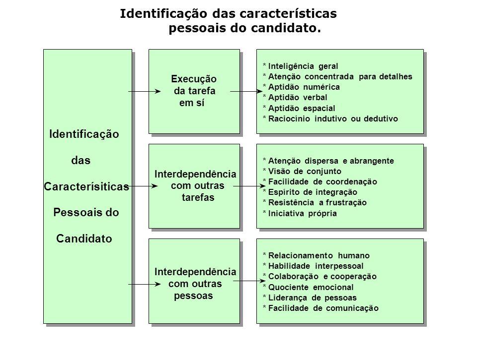 Identificação das características pessoais do candidato. Execução da tarefa emsí Interdependência com outras pessoas Interdependência com outras taref
