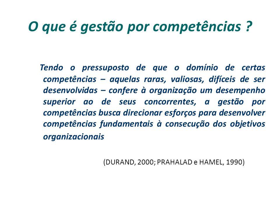 O que é gestão por competências ? Tendo o pressuposto de que o domínio de certas competências – aquelas raras, valiosas, difíceis de ser desenvolvidas