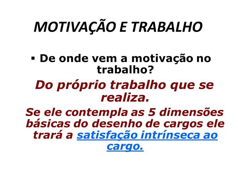 MOTIVAÇÃO E TRABALHO De onde vem a motivação no trabalho? Do próprio trabalho que se realiza. Se ele contempla as 5 dimensões básicas do desenho de ca