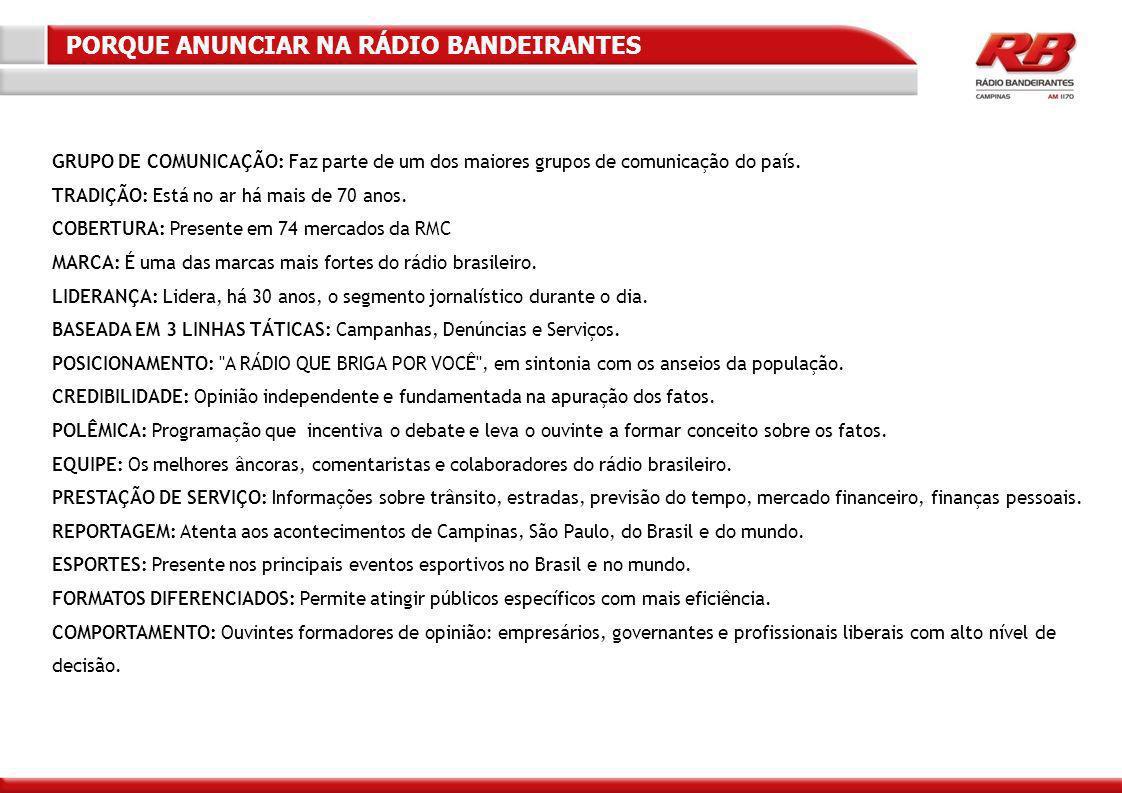 GRUPO DE COMUNICAÇÃO: Faz parte de um dos maiores grupos de comunicação do país.