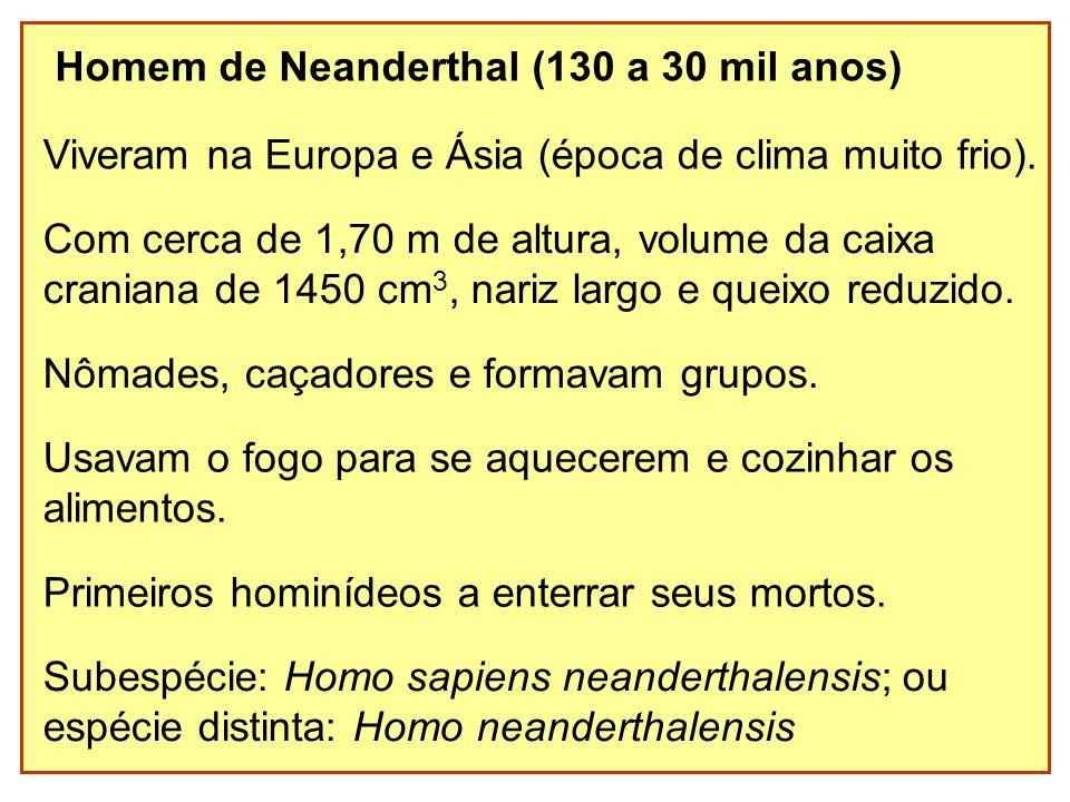 Homem de Neanderthal (130 a 30 mil anos) Viveram na Europa e Ásia (época de clima muito frio). Nômades, caçadores e formavam grupos. Usavam o fogo par